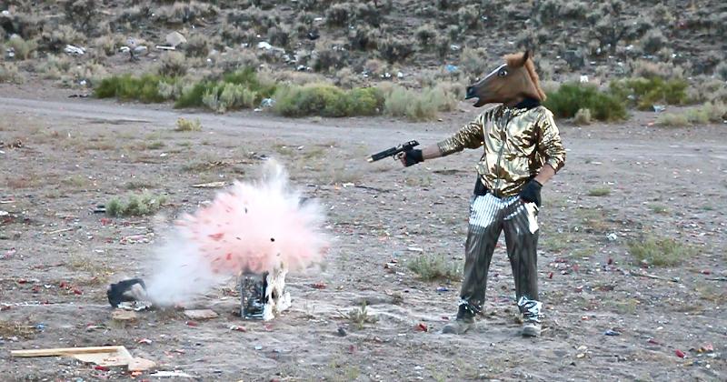 Disco Movie 3 horse shoots watermelon