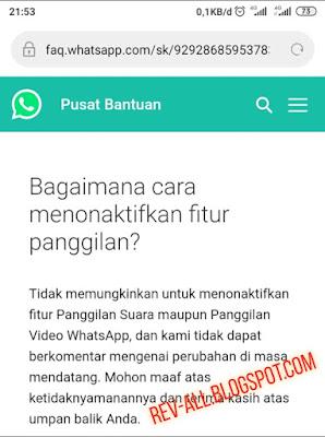 Bagaimana cara menonaktifkan fitur panggilan web WhatsApp