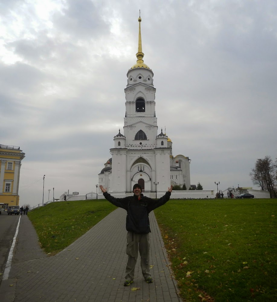about to enter Uspenskiy Sobor, one of the famed churches of Vladimir and the Golden Ring