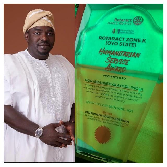 [BangHitz] Oyo Rep Hopeful, Ibraheem Iyiola Bags Rotaract Club Award for Humanitarian Service