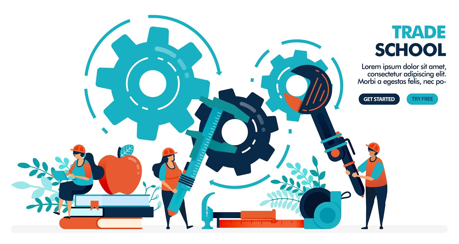 Vector Illustration People Learning Repair Machines	 Free Download Vector CDR, AI, EPS and PNG Formats