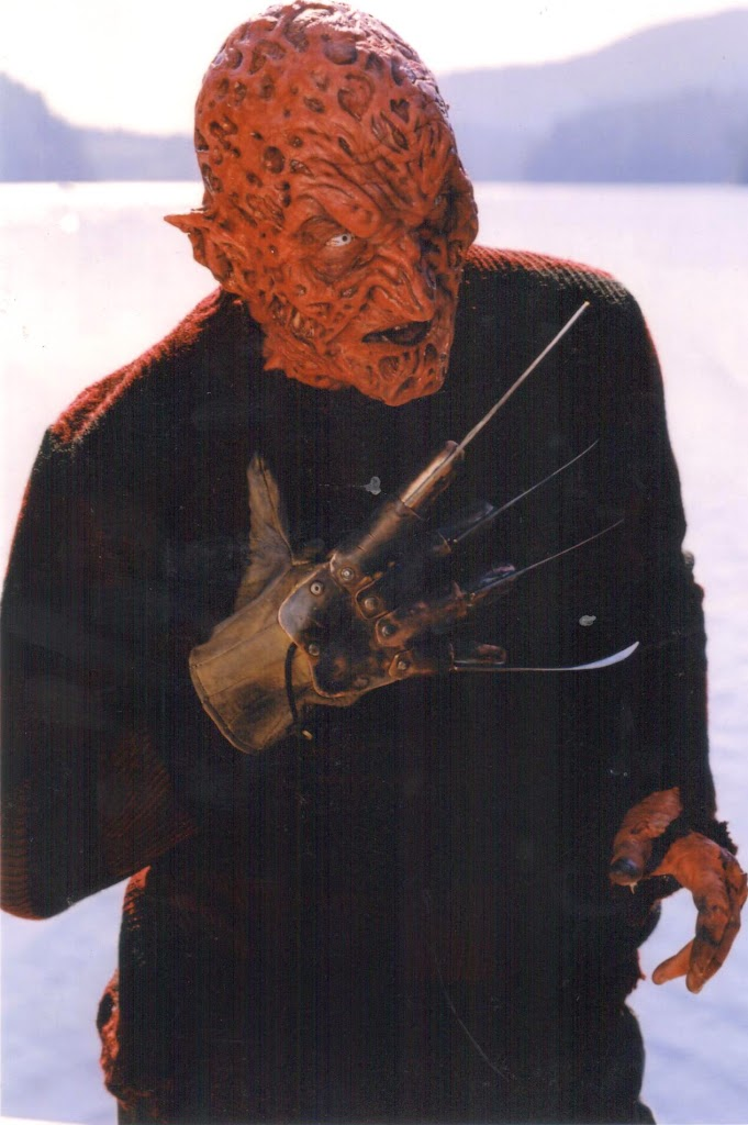 The Demon Freddy make-up. I did my own water stunts in this make-up. They put too much glue on me because they were worried about Crystal Lake getting inside my prosthetic pieces. It took longer to get out of the make-up than to put it on. Contact lenses are hell under water.