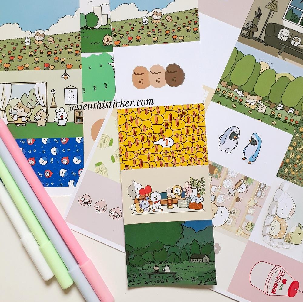 sticker giấy cute dễ thương trang trí tập vở