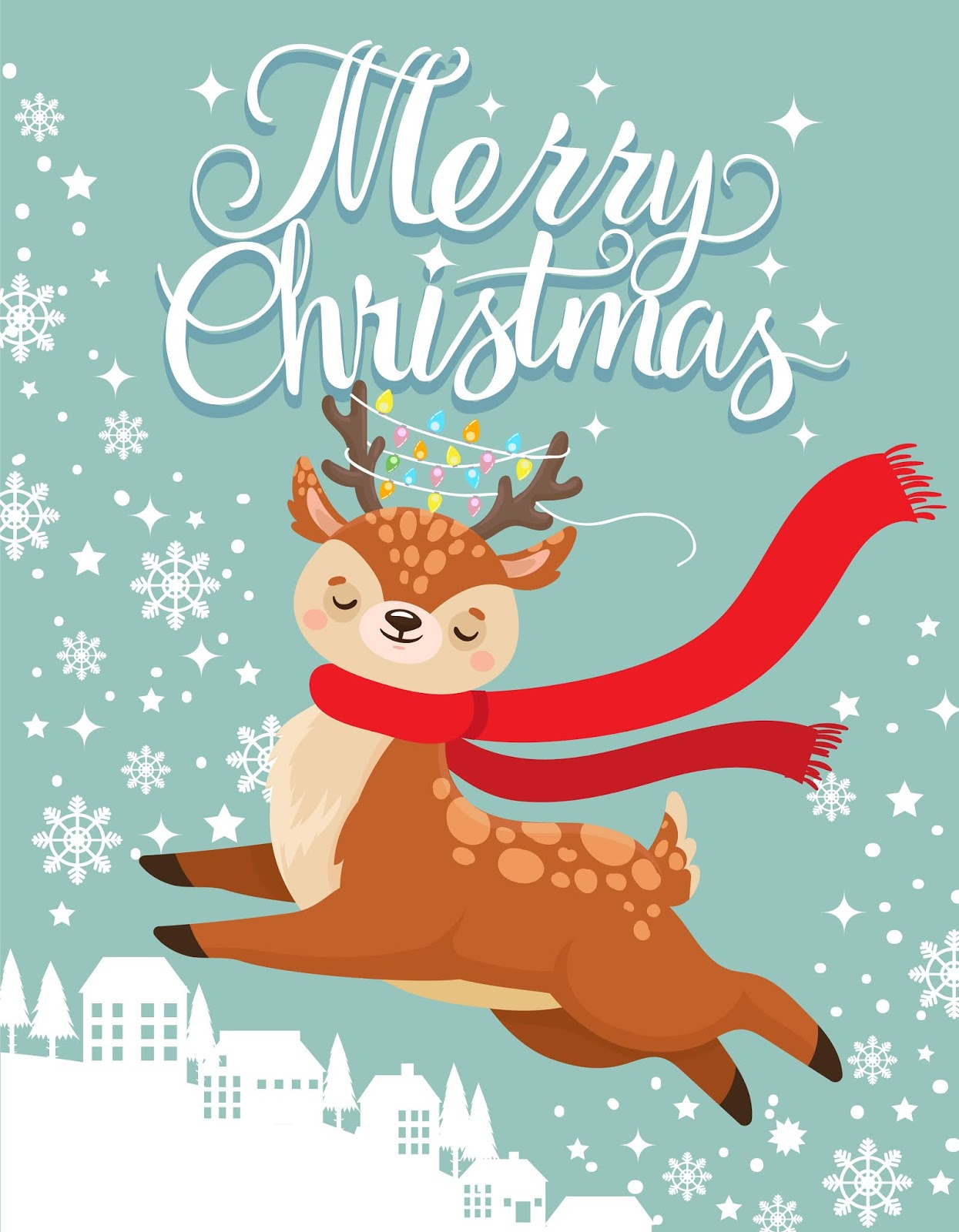 Greeting Card With Xmas Deer Merry Christmas Postcard Cute Fawn Winter Holidays Cartoon Vector Illustration Free Download Vector CDR, AI, EPS and PNG Formats
