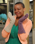 Brandi Harper wearing handmade cabled mittens from an original pattern - http://www.etsy.com/shop/purlbknit