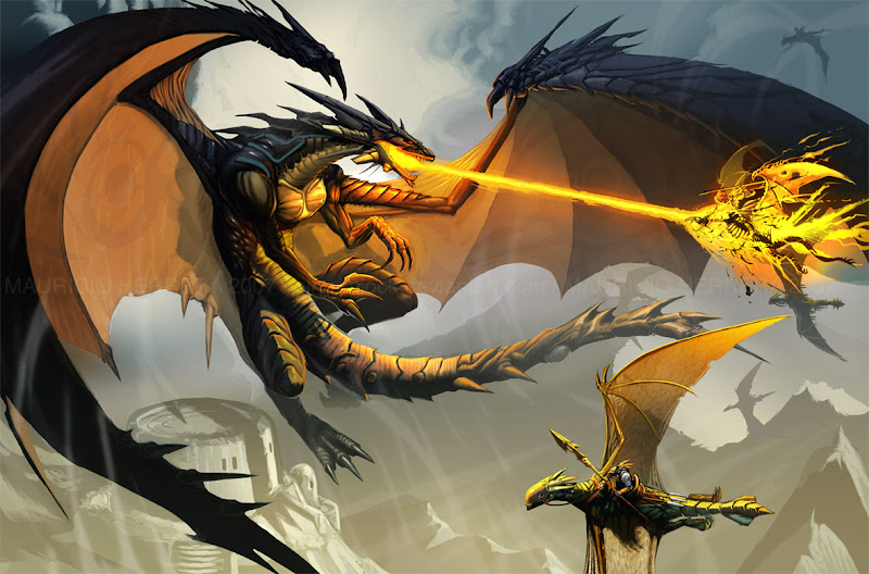 Black Dragon Attack By El Grimlock, Celtic And Druids