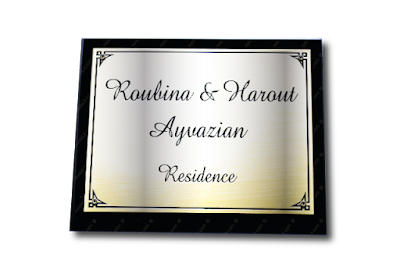 Silver-plated brass sign plate for home