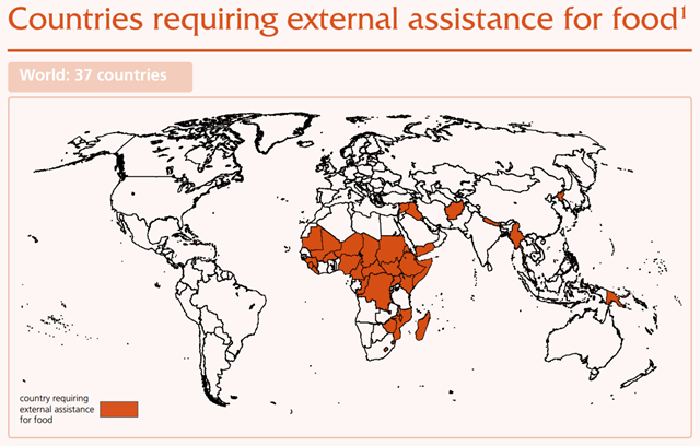 Countries requiring external assistance for food, 2 June 2016. Graphic: UNFAO