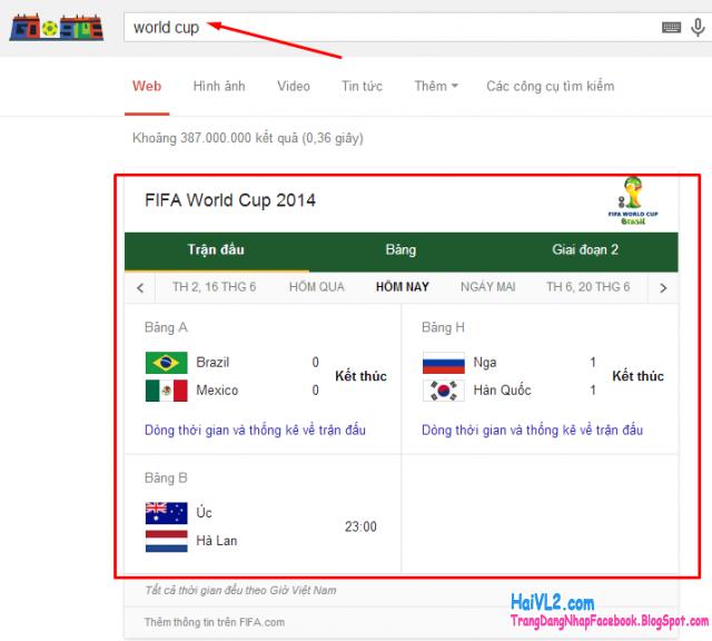 xem kết quả và lịch thi đấu world cup từ google việt nam