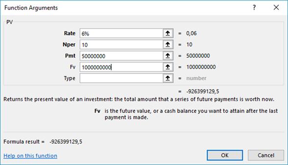 cara menghitung nilai sekarang obligasi dengan excel