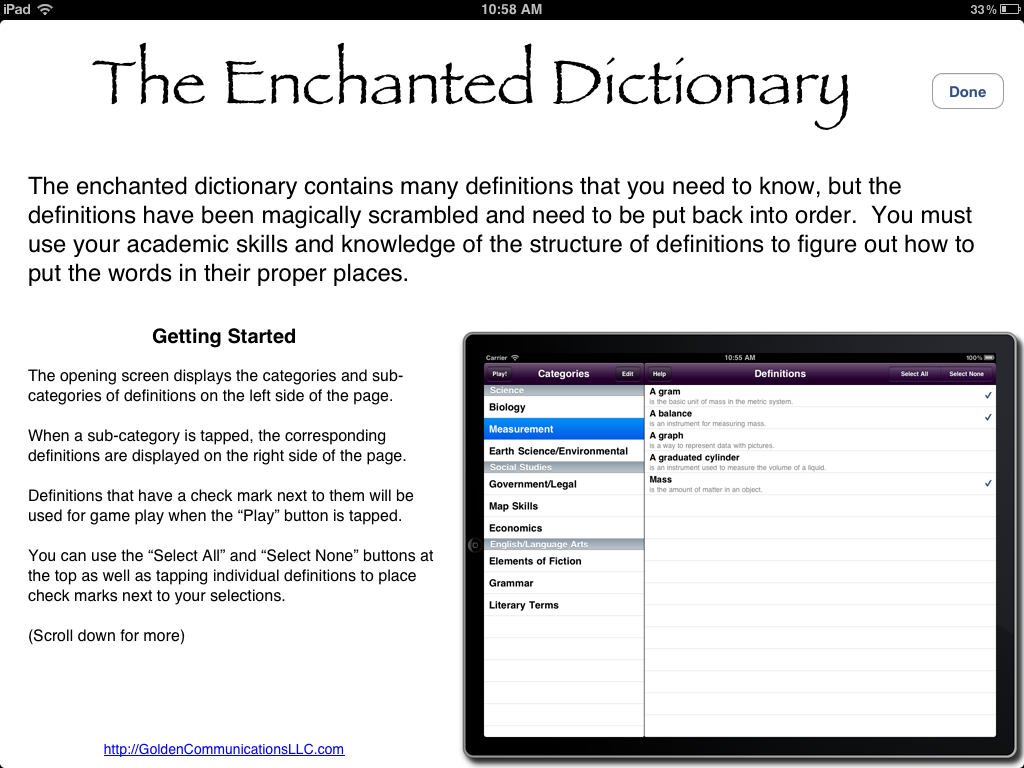 The Enchanted Dictionary Instructions icon
