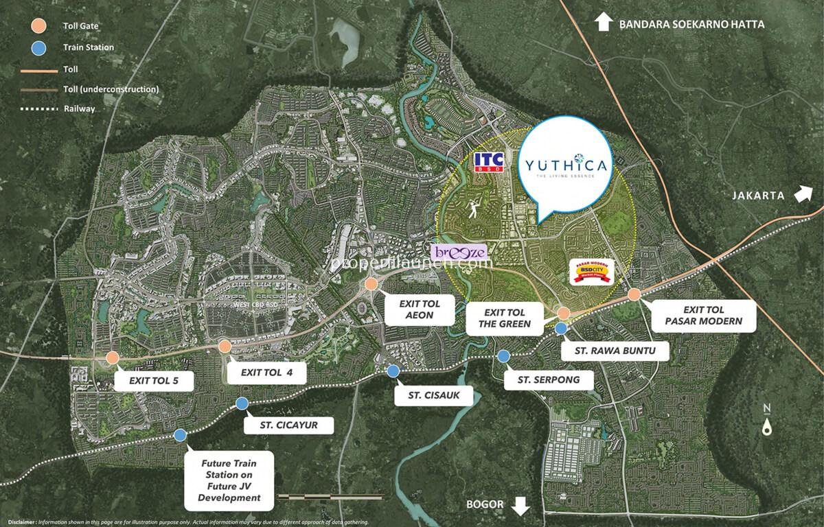 Peta lokasi cluster Yuthica BSD