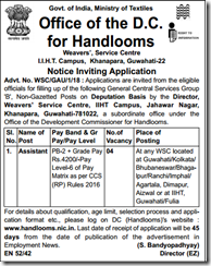 Handlooms Notification 2018 www.indgovtjobs.in
