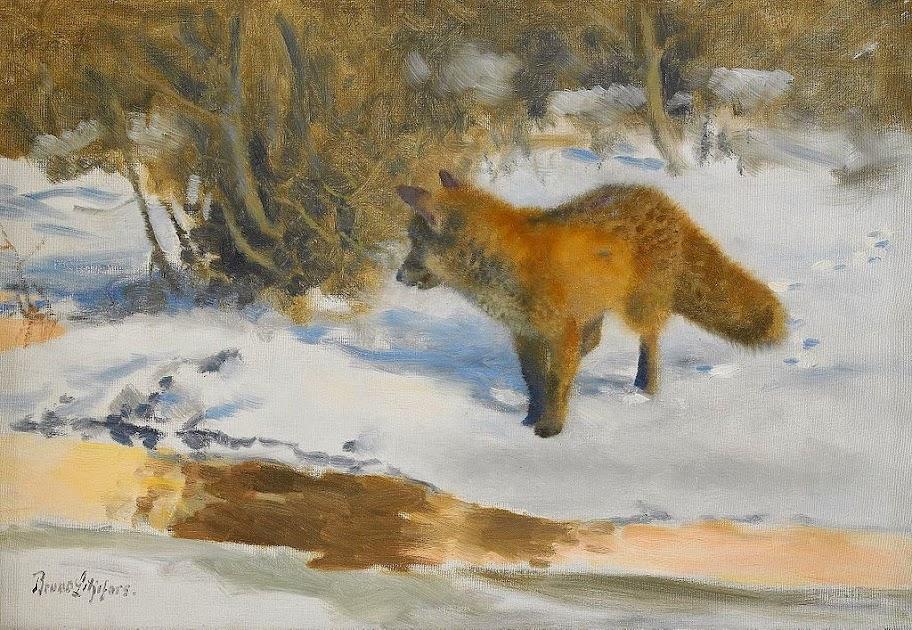 Bruno Liljefors - Winter Landscape with a Fox