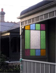 Coloured Patterned Glass Verandah window