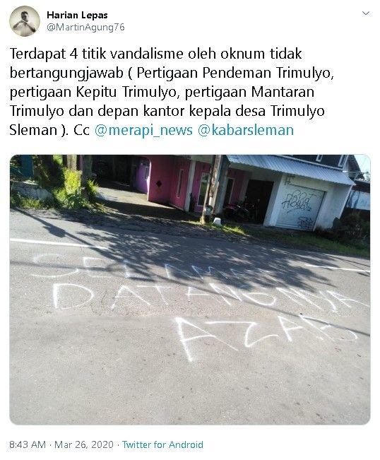 Jalanan di Sleman Dicoreti Azab, Buat Warganet Geregetan