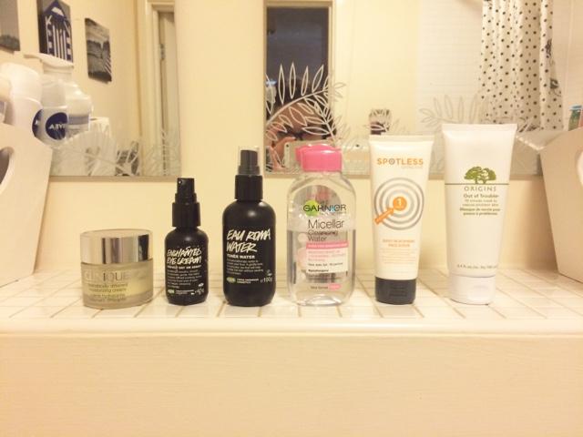 Travel skincare bag Clinique, lush, garnier, micellar water, origins,