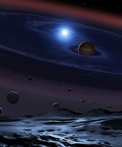 ilustração de anã marrom e anã branca orbitando num sistema binário