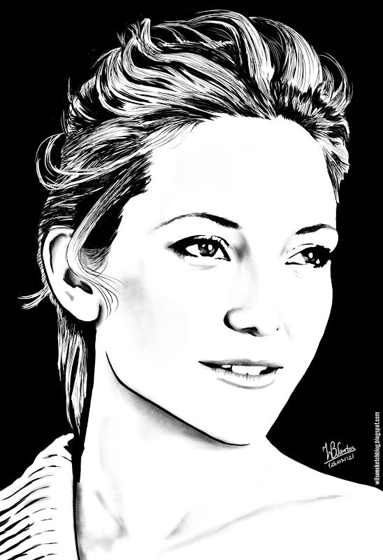 Ink drawing of Kate Hudson, using Krita 2.4.