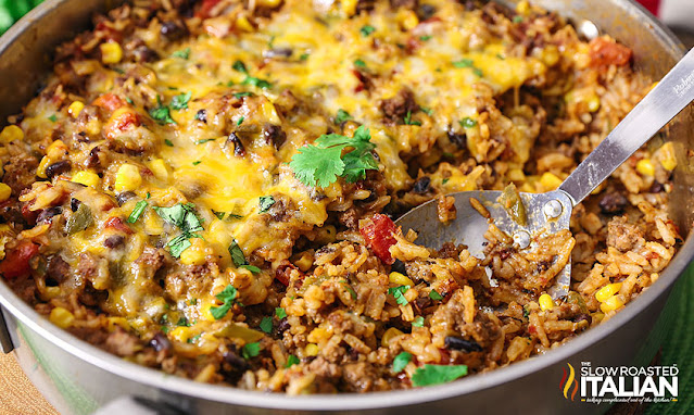 Mexican Rice Casserole in a skillet