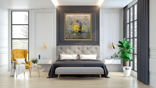 Mixed media painting on canvas above bed in contemporary style bedroom