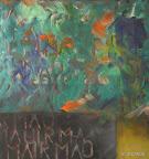 """Entwurf f. den Begriff """"Geschwisterlichkeit"""" Acryl, Holz, 2002"""