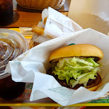 coffee and a delicious buger at Freshness Burger in Shinagawa, Tokyo, Japan