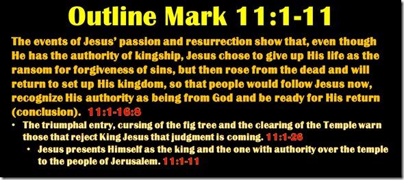 Mark 11.1-11 outline