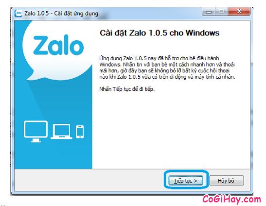 bắt đầu cài đặt Zalo