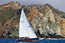 J/124 sailing past Catalina Island