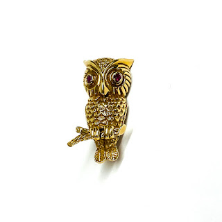 Tiffany 14K Gold and Ruby Owl Brooch
