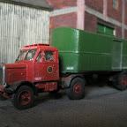 BRS Scammell with bow-front van trailer. All RTI except for the front wheels and those on the trailer, which are from Langley. The actual vehicle is in the South Yorkshire Transport Museum awaiting restoration.