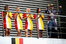 Daniel Ricciardo on his way to the podium with F1 grid girls