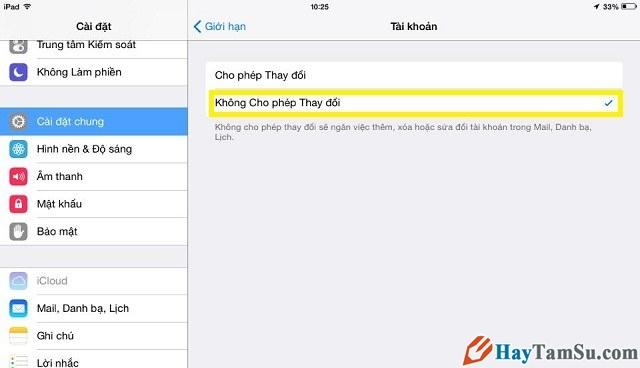không cho phép thay đổi apple id, icloud trên iPhone của bạn