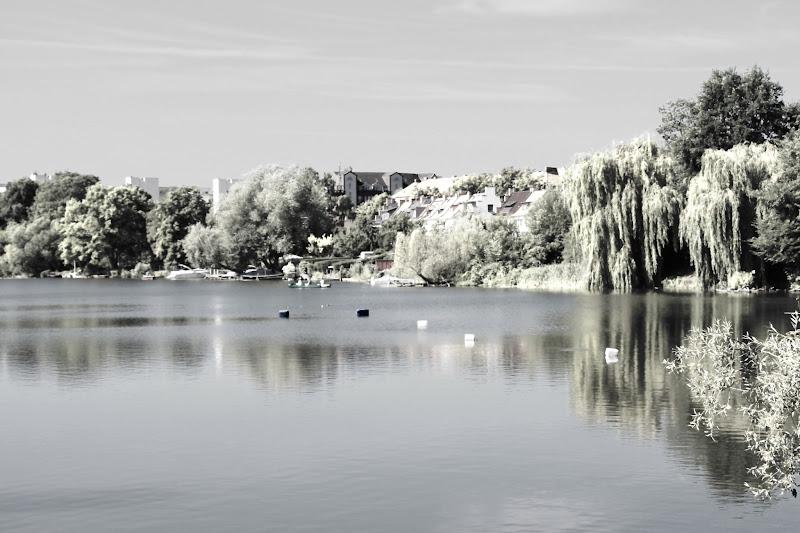 Foto mit Infraroteffekt: Der Grimnitzsee in der Spandauer Wilhelmstadt