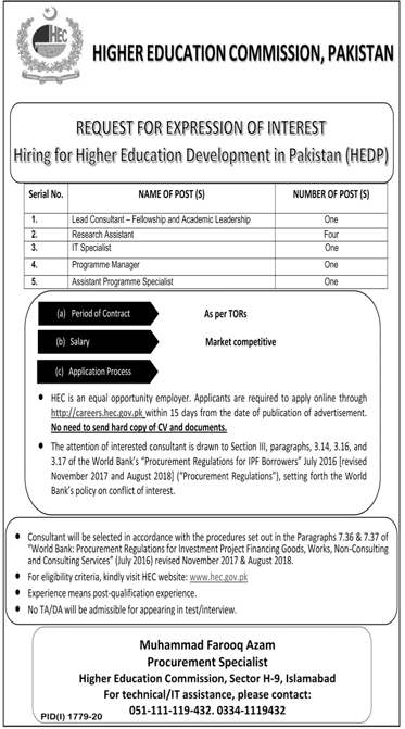 Higher Education Commission HEC Jobs October 2020