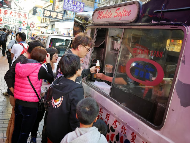 people at mobile ice cream truck at Sai Yeung Choi Street South