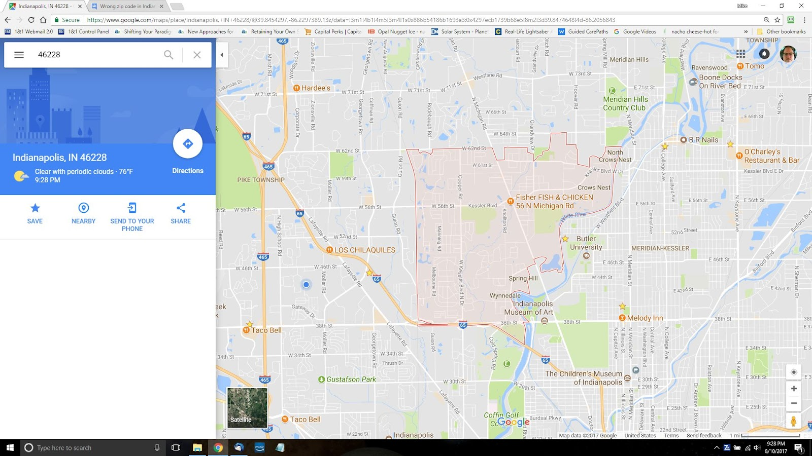 Wrong zip code in Indianapolis IN - Google Product Forums
