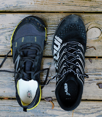 top view of New Balance Minimus Trail and Inov-8 f-lite 230
