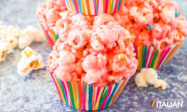 popcorn ball recipe in striped cupcake liners