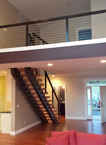 Black Aluminum Railing System for Contemporary Loft & Staircase