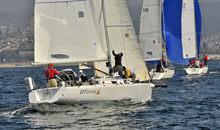 J/105 one-design sailboats- sailing off Chile