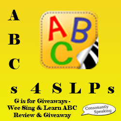 ABCs 4 SLPs: G is for Giveaways - Wee Sing & Learn ABC Review and Giveaway image