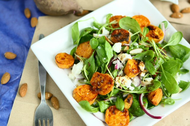 Sweet Potato Salad with Baby Spinach and Feta