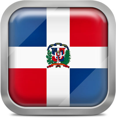 Dominican Republic square flag with metallic frame