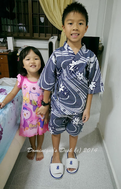 Tiger girl with her Pororo dress from South Korea and Doggie boy wearing a Yukata from Japan.