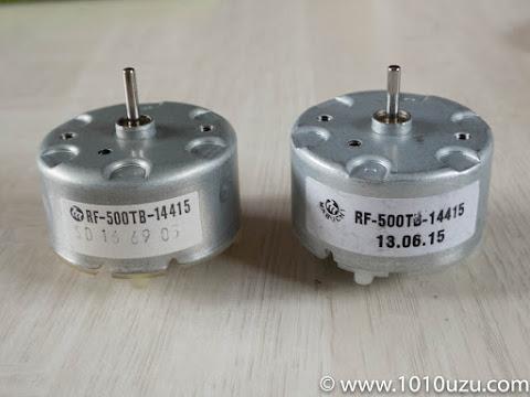 取り外したモーター(左)と新しくつけ替えるモーター(右)