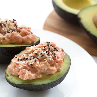 Spicy Tuna Stuffed Avocados.