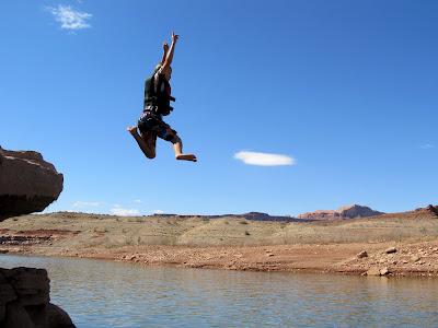 Michael jumping into the water at Farley Canyon