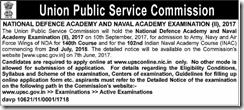 UPSC NDA NA 2 Exam 2017 Short Notice www.indgovtjobs.in